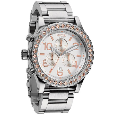 NIXON 48-20 CHRONO 潮流重擊晶鑽腕錶-銀x玫瑰金/42mm