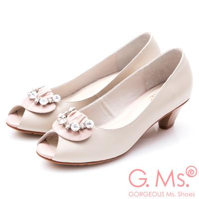 G.Ms. MIT系列- 牛皮魚口鑽飾粗跟鞋-粉紅