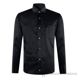 ROBERTA諾貝達 台灣製 合身版 時尚百搭長袖襯衫 黑色