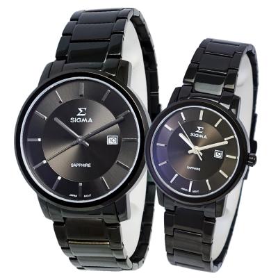 SIGMA 質感簡約藍寶石時尚情人對錶-深灰/30/40mm