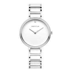 BERING-閃耀晶鑽簡單錶面陶瓷系列 藍寶石鏡面 銀白34mm