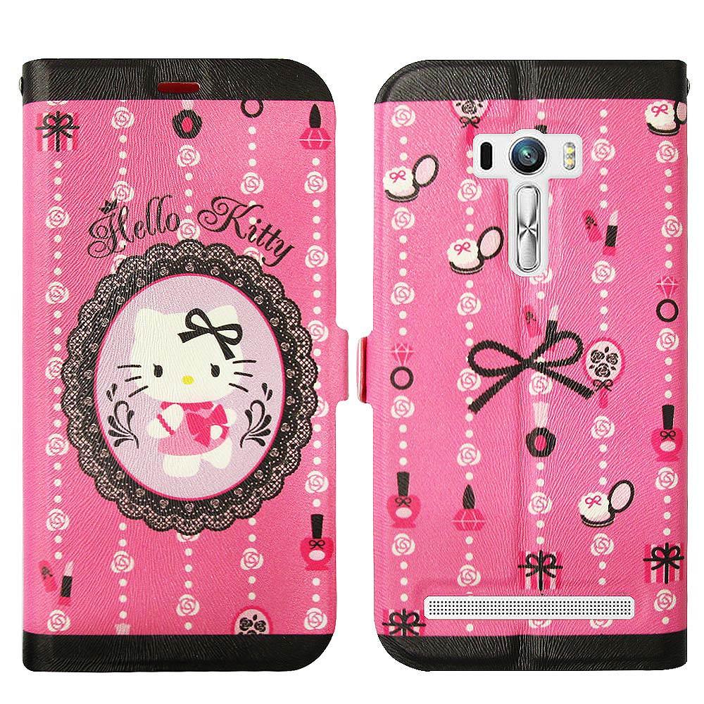 Hello Kitty貓 ASUS Zenfone Selfie 磁力書本皮套(法式蕾絲)
