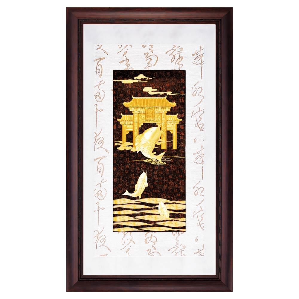 鹿港窯-立體金箔畫-魚躍龍門(彩金系列48x82cm)