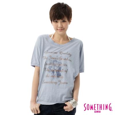 SOMETHING-浪漫飄逸休閒T恤-女-水藍色