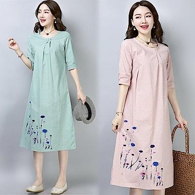 純色下擺印花連衣裙-共2色(M-2XL可選)     NUMI   森