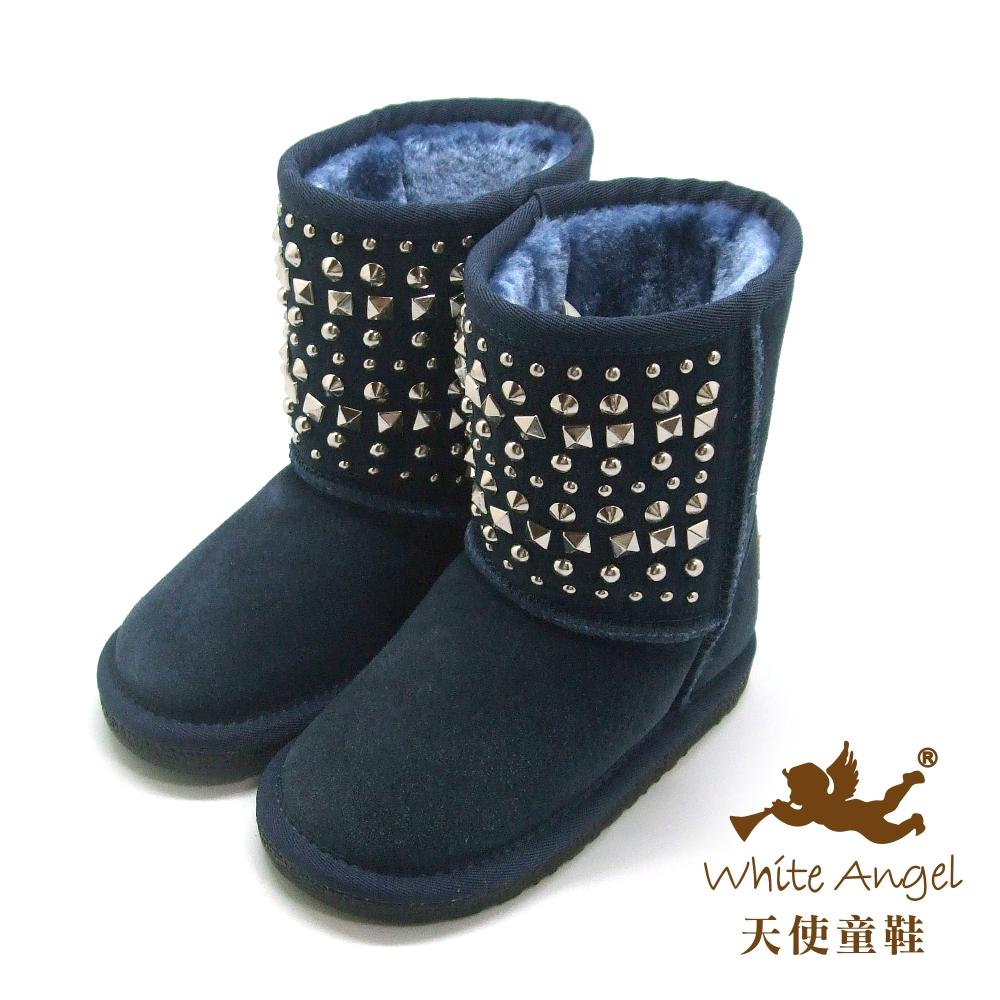 天使童鞋 帥氣鉚釘真皮雪靴 深藍 B325N