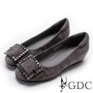 GDC-優雅羊絨水鑽扣飾內增高女鞋-槍灰色