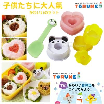Kiret 日本廚房貓熊 愛心 小花 贈小鏟子 卡通飯糰模具3入壽司飯糰模具