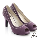 A.S.O 奢華時尚 絨面金屬鑽釦魚口高跟鞋 紫