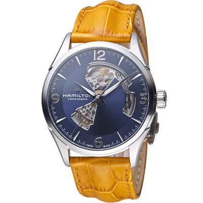 HAMILTON漢米爾頓 爵士系列OPEN HEART 80小時自動腕錶-咖啡/42mm