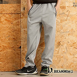 Dreamming 壓條口袋寬版鬆緊腰運動休閒長褲-共二色