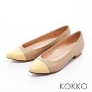 KOKKO-迷彩尖頭撞色拼接真皮舒壓平底鞋 -黃X膚