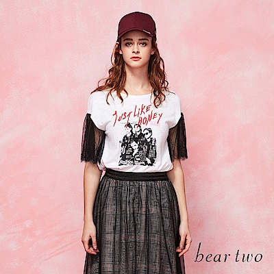 beartwo 搖滾女孩蕾絲造型T恤(二色)