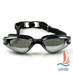 SANQI三奇 夏日必備抗UV防霧休閒泳鏡(9018-黑F)