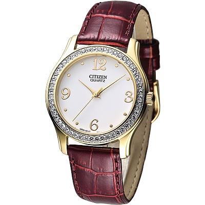 CITIZEN 柔美仕女晶鑽腕錶-白x咖啡紅錶帶(EL3012-00A)/34mm 二年保固