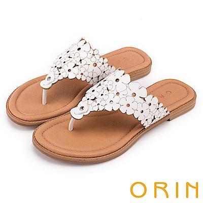 ORIN 夏日甜美氛圍 巖選牛皮花朵打洞夾腳拖鞋-白色