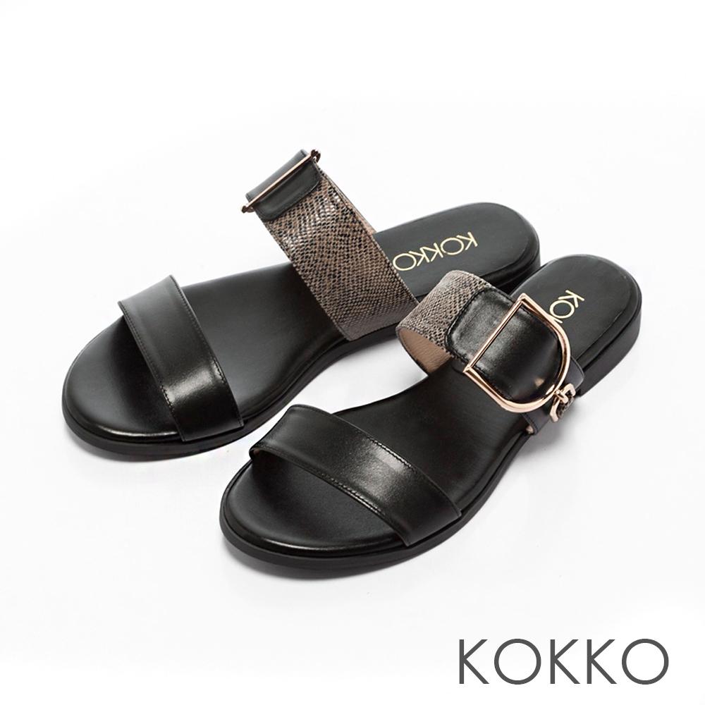 KOKKO-夏日邂逅異材質金屬扣平底拖鞋-經典黑