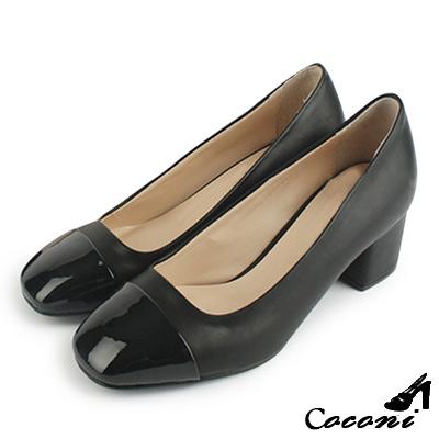 CoConi-跟鞋-韓國拼接漆皮方頭粗跟-黑