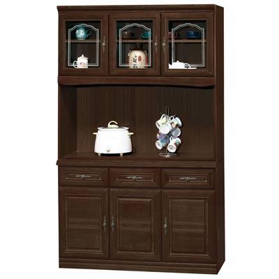 時尚屋義昇胡桃4尺三抽碗櫥櫃