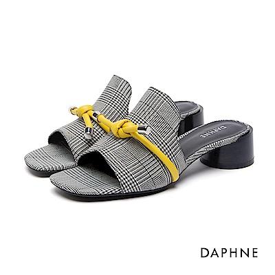 達芙妮DAPHNE 涼鞋-千鳥格紋撞色蝴蝶結中跟涼鞋-黑
