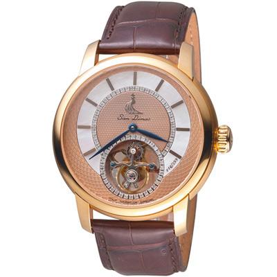 San Dimas聖迪瑪斯陀飛輪鑲鑽腕錶-44mm/亮古銅色