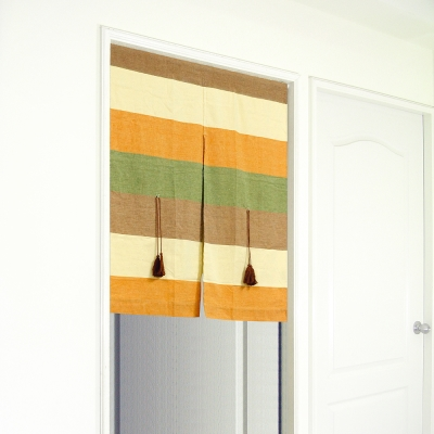 布安於室-色塊純棉中開式短門簾-秋季色系