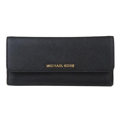 MICHAEL KORS JET SET TRAVEL金字LOGO防刮皮革釦式長夾(黑)