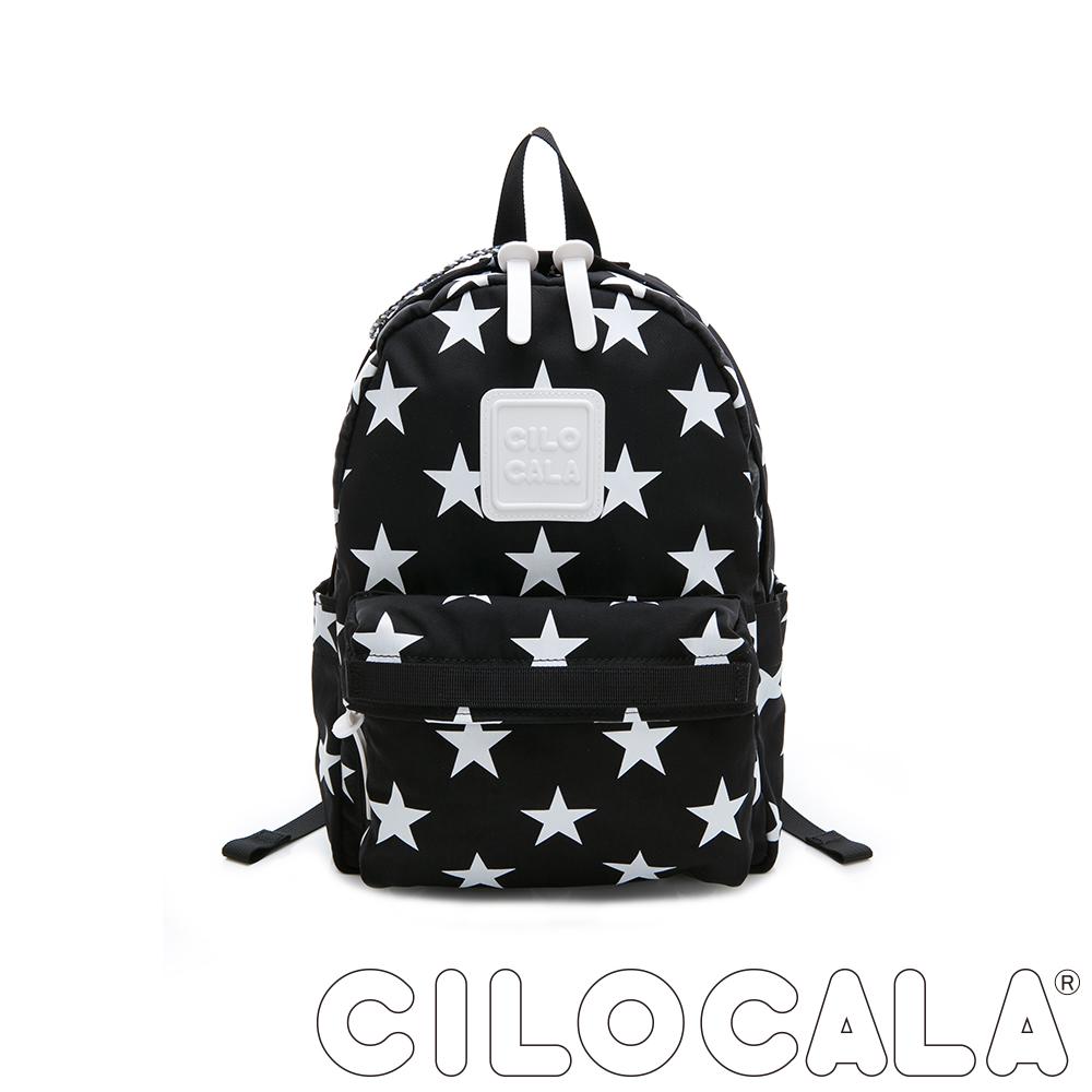 CILOCALA 限量版-亮彩尼龍星星防潑水後背包 黑色(小)