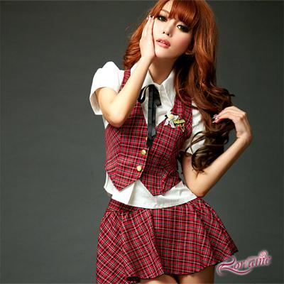 【Lorraine】愛情學苑!格紋三件式學生服