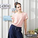 JEEP女裝 轉印圖騰V領短袖T恤-粉紅色