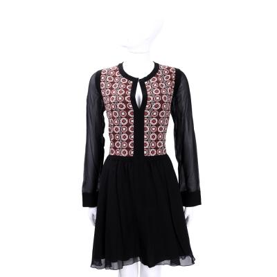 PHILOSOPHY 黑x紅色幾何印花羊毛拼接絲質長袖洋裝