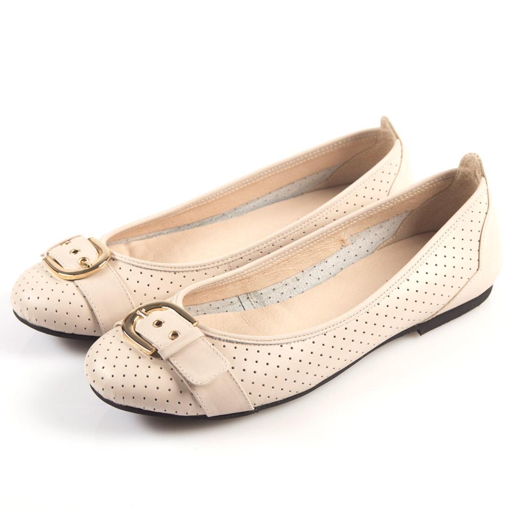 G.Ms. MIT系列-牛皮柔軟洞洞皮帶釦娃娃鞋-甜粉杏