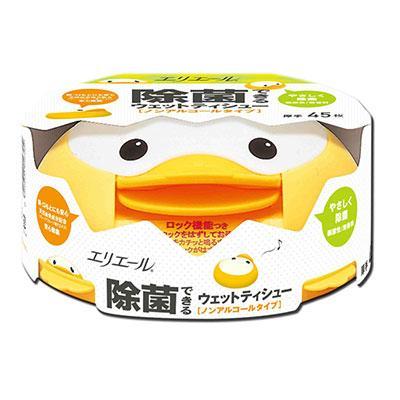 日本大王elleair小鴨抗菌濕紙巾(不含酒精)45片/盒