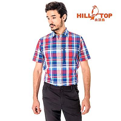 【hilltop山頂鳥】男款吸濕排汗抗UV短襯衫S06M64-紅格紋