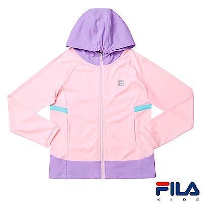 FILA KIDS 女童抗UV吸濕排汗針織外套-淡粉5JKS-4316-LP