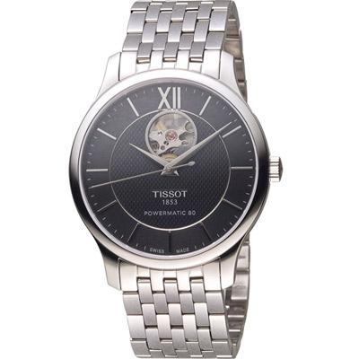 TISSOT TRADITION 古典風格自動機械錶-黑/40mm