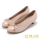 ORIN 甜美OL 嚴選真皮細緻蝴蝶結低跟鞋-粉紅