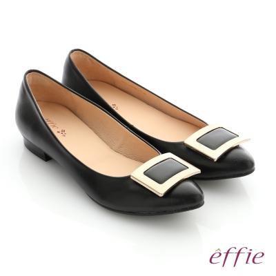 effie 舒適通勤 方型飾釦全真羊皮尖頭低跟鞋 黑色