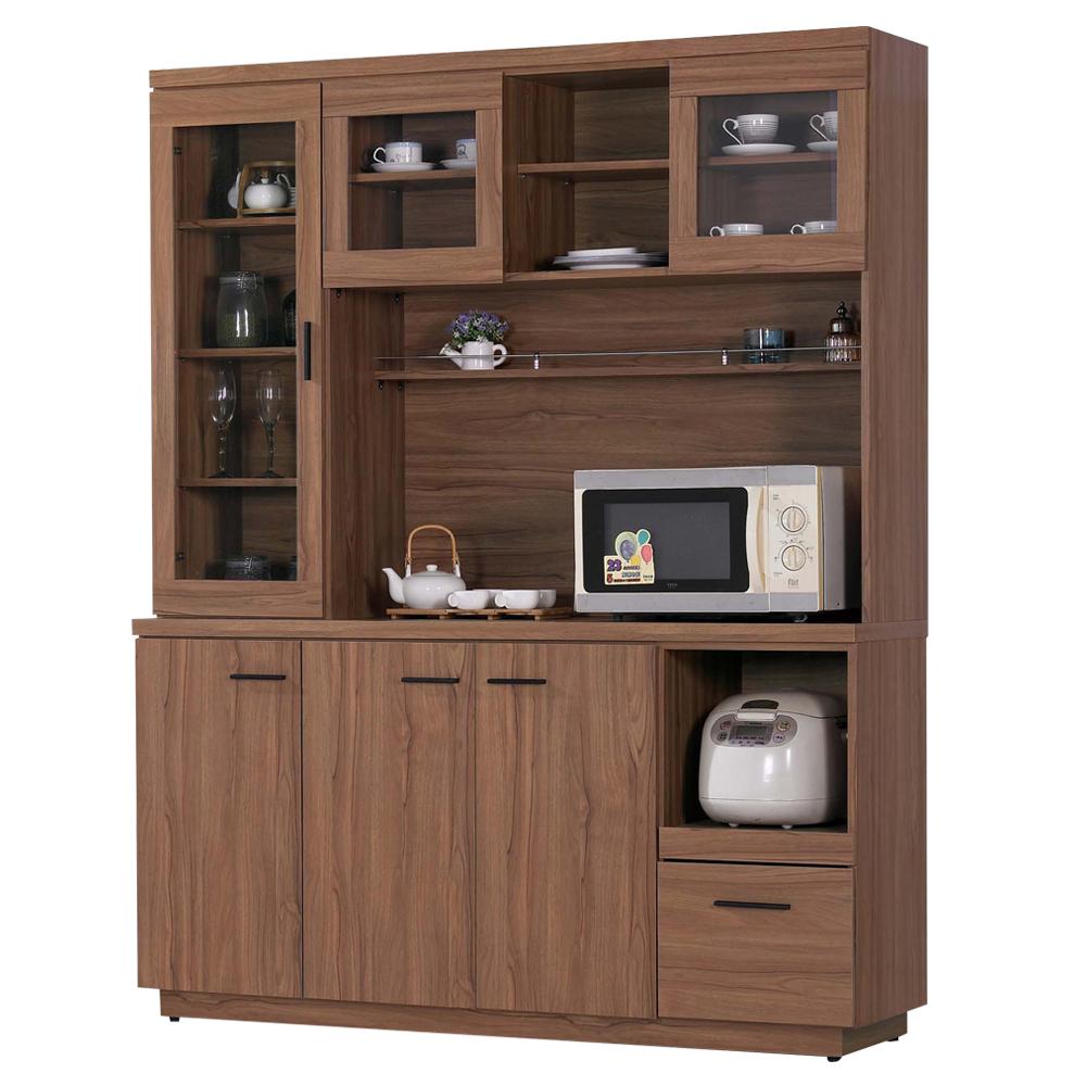 愛比家具 堤比5尺柚木色餐櫃全組