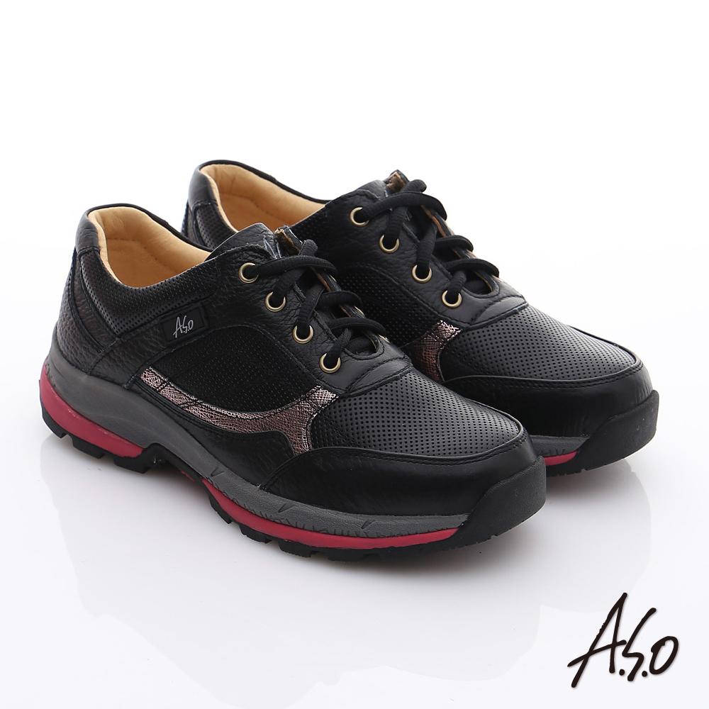 A.S.O 前彈性後避震 柔軟真皮乳膠奈米休閒鞋 黑色