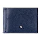 萬寶龍大班雙色系列六卡鈔票夾式短夾-深藍x焦糖棕