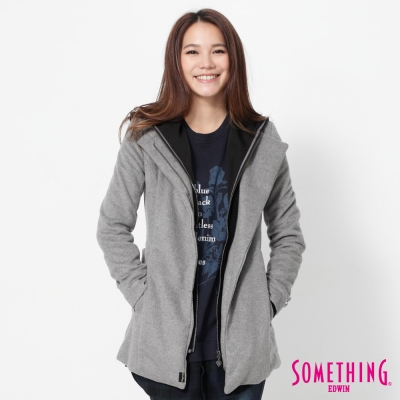 SOMETHING 可拆式假兩件毛呢外套-女-淺灰色