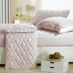 eyah宜雅 台灣製純色加厚舖棉保潔墊平單式雙人特大3入組-含枕墊*2-紳士灰