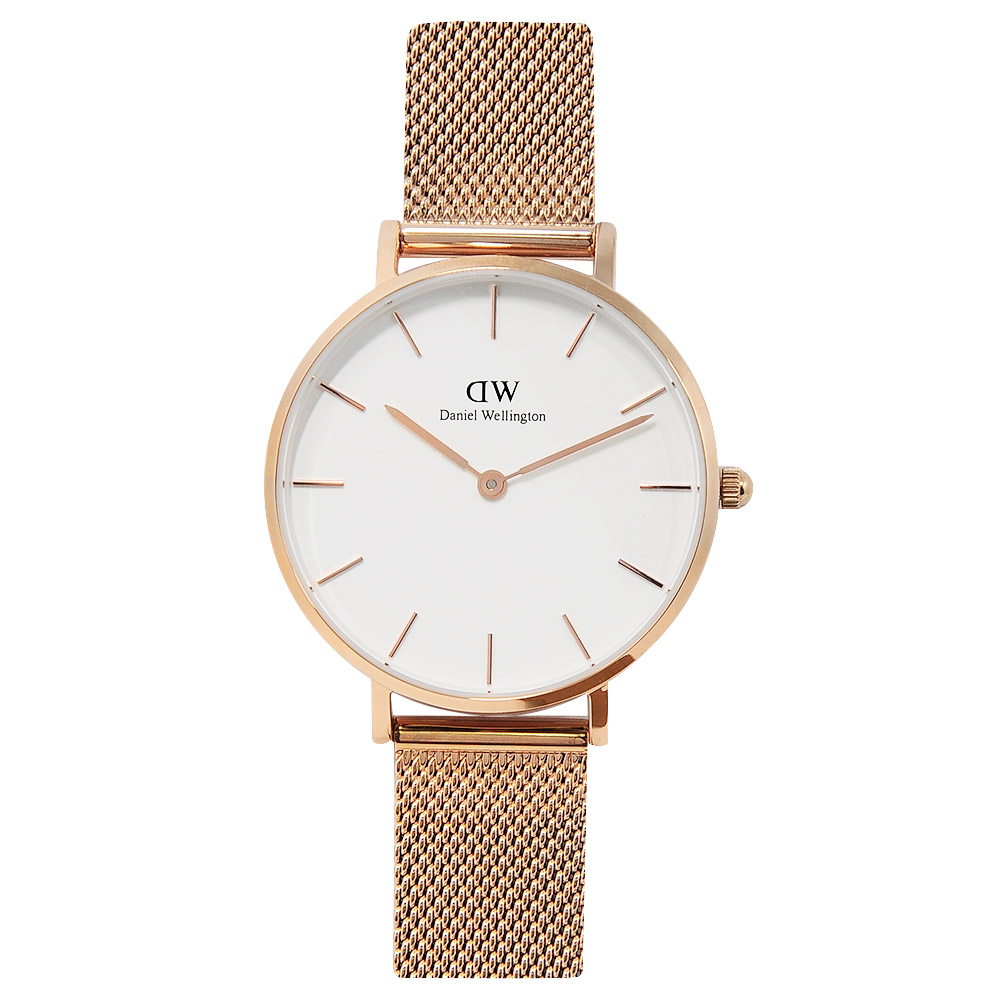 DW Daniel Wellington金屬米蘭帶白錶盤玫瑰金手錶32mm