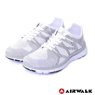 【AIRWALK】幾何線條編織慢跑鞋-白
