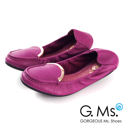 G.Ms.  輕旅行-全真皮典雅金屬飾釦折疊豆豆鞋-搶眼紫