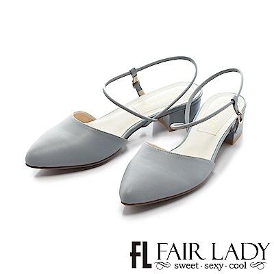 Fair Lady尖頭設計優雅繫帶粗跟涼鞋 藍