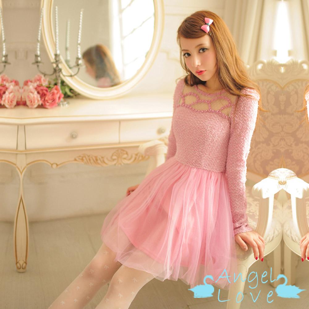 【Angel Love】浪漫貝殼花邊鏤空針織洋裝 (紫粉色)
