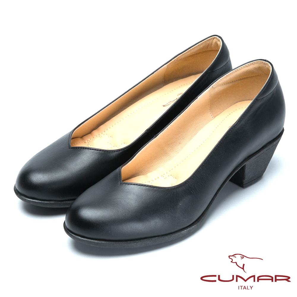 CUMAR氣墊大底-嚴選真皮氣墊高跟鞋-黑色