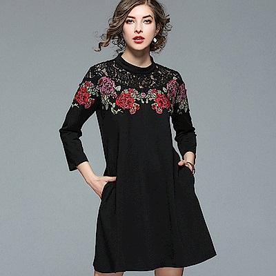 ABELLA 艾貝拉 環繞紅紫玫瑰拼接蕾絲圓領短裙洋裝(M-2XL)